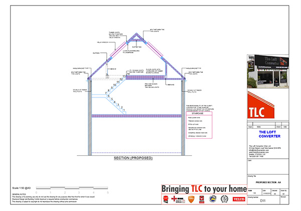 Loft Conversion Planning Drawing, St Albans, Hertfordshire