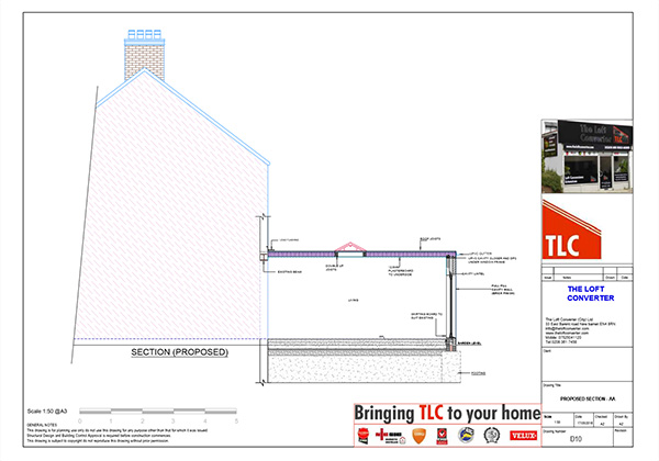 Loft Conversion Planning Drawing, North London, Southgate