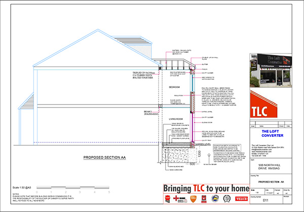 Structural calculations and building regulations drawing for house extension at Romford, Essex