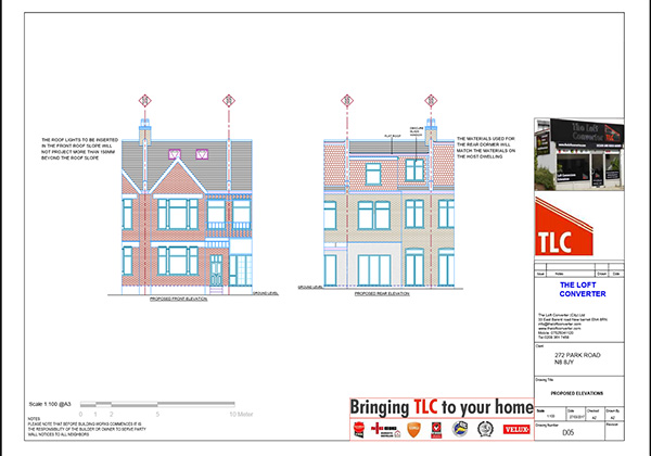 Loft conversion planning drawing for loft conversion at Crouch End, North London