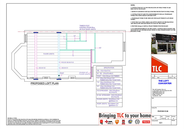Loft Conversion Planning Drawing, North London, Muswell Hill